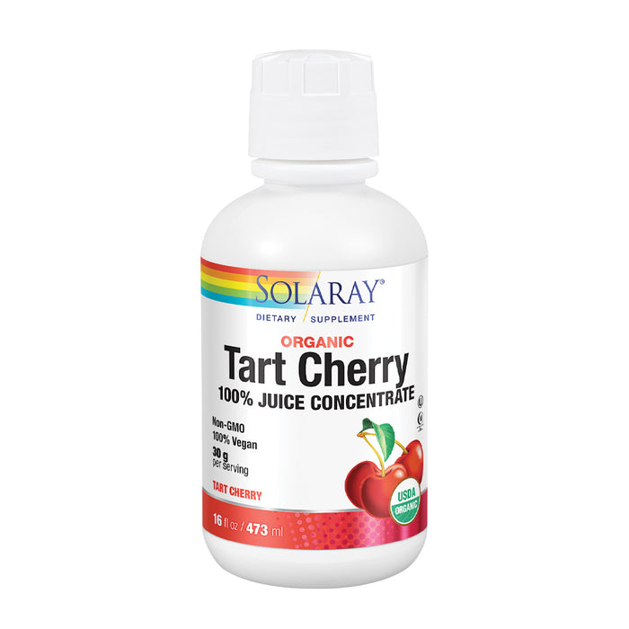Solaray Organic Tart Cherry 100% Juice Concentrate | Healthy Uric Acid Levels & Joint Support | 16 Servings | 16 fl oz