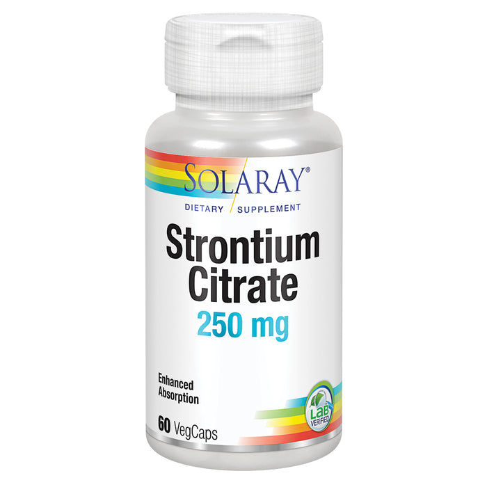 Solaray Strontium Citrate 250 mg | Healthy Bones & Teeth Support | Gentle Digestion, Enhanced Absorption | 60 VegCaps