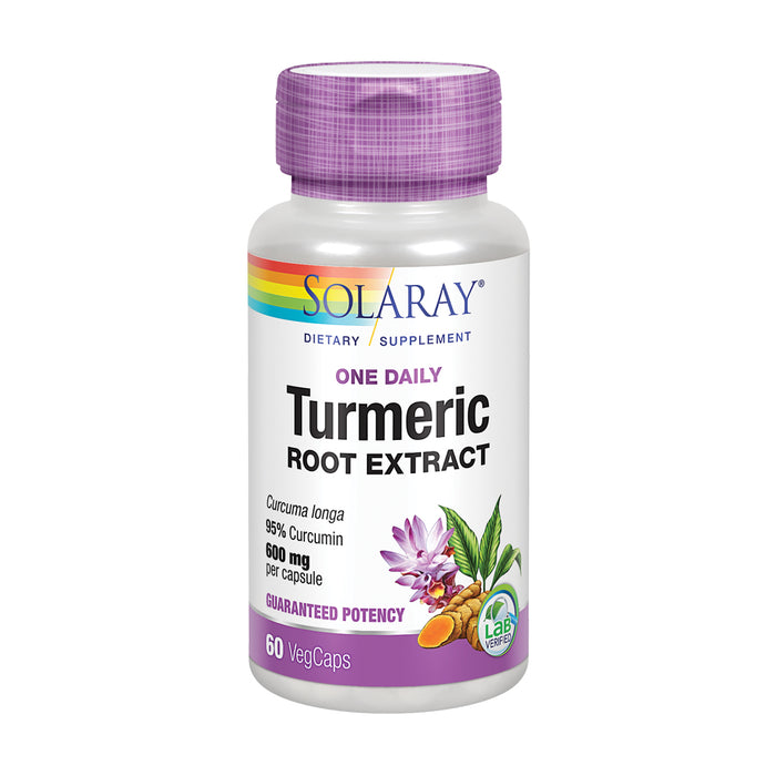 Solaray Turmeric Root Extract 600mg | One Daily | Healthy Joints, Cardiovascular System Support | Guaranteed Potency (60 CT)