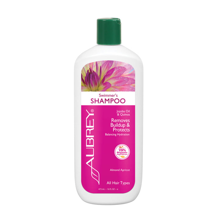 Aubrey Swimmers Shampoo | Removes Chlorine & Buildup, Protects | Jojoba Oil & Quinoa Protein | All Hair Types | 75% Organic Ingredients (16 oz)