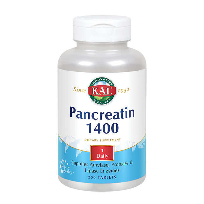 KAL Pancreatin 1400 | Pancreatic Enzymes Amylase, Protease & Lipase to Help Support Healthy Digestion of Carbs, Fats & Proteins | 250 Tablets