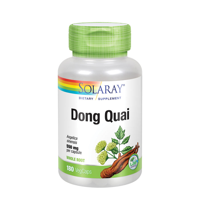 Solaray Dong Quai Root 550mg | Healthy Menstrual & Menopausal Support | Womens Health Supplement | Whole Root | Non-GMO, Vegan & Lab Verified | 180ct