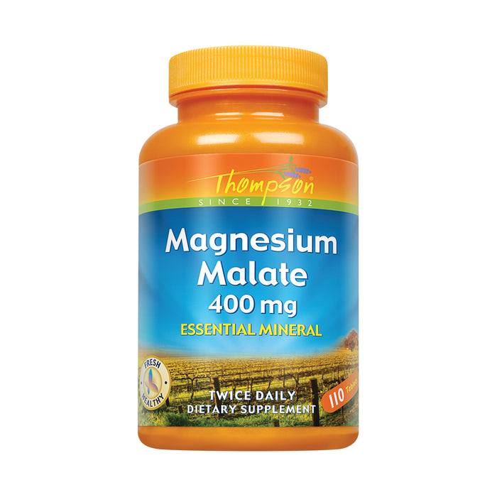 Thompson Magnesium Malate 400mg | Healthy Muscle & Nerve Function Support | Energy Production Aid | Quick Tablet Disintegration | Vegetarian | 120ct