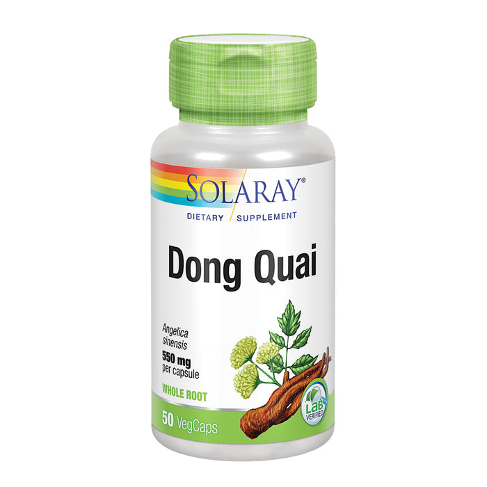 Solaray Dong Quai Root 550mg | Healthy Menstrual & Menopausal Support | Womens Health Supplement | Whole Root | Non-GMO, Vegan & Lab Verified | 50ct