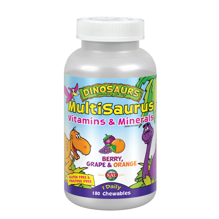 KAL Kids MultiSaurus Vitamins & Minerals | Berry, Grape & Orange Flavor | Childrens Daily Multivitamin | 180 Chewables