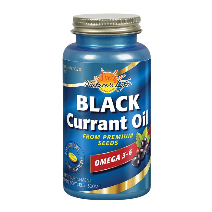 Nature's Life Black Currant Oil Minis 500 mg | With Omega 3-6 for Skin, Hair, Heart and Joint Health | 90ct