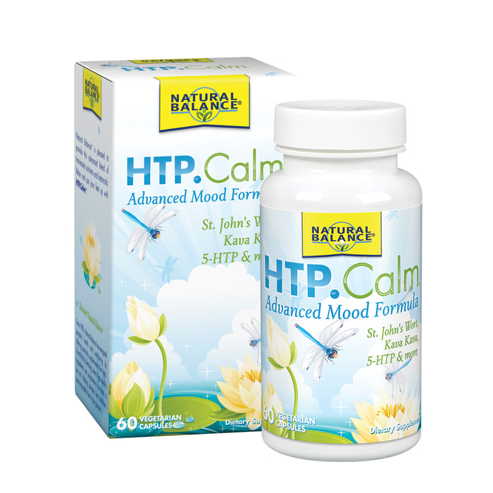 Natural Balance HTP Calm | Herbal Supplement Helps Support Mood, Relaxation & Stress | Vitamin B-6, Kava Kava & St. Johns Wort | 60 Caps