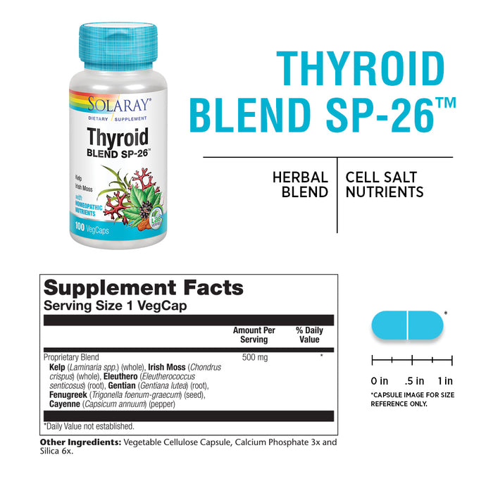 Solaray Thyroid Blend SP-26 | Herbal Blend w/ Cell Salt Nutrients to Help Support Healthy Thyroid Function | Non-GMO, Vegan | 100 VegCaps