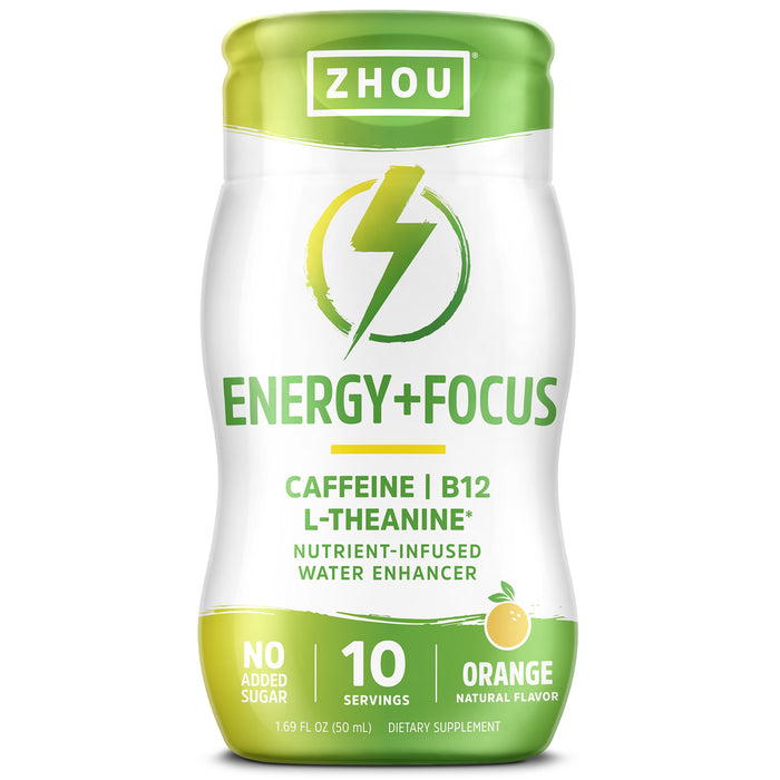 Zhou Energy + Focus Water Enhancer | Caffeine, B12, L-Theanine | Nutrient-Infused | 1.69 fl oz, 10 Servings