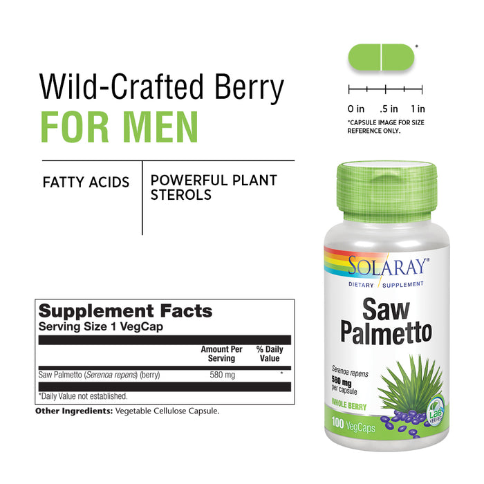 Solaray Saw Palmetto Berry 580mg  | 100 VegCaps