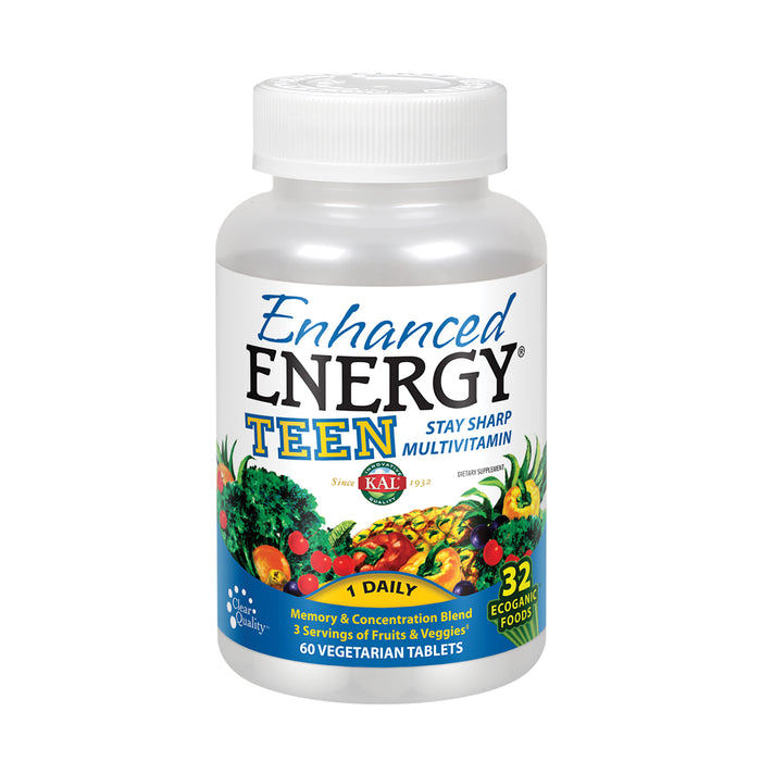 KAL Enhanced Energy Multivitamin for Teens | Memory & Concentration Blend | Equates to 3 Servings of Fruits & Veggies | 32 Ecoganic Foods | 60 Tablets
