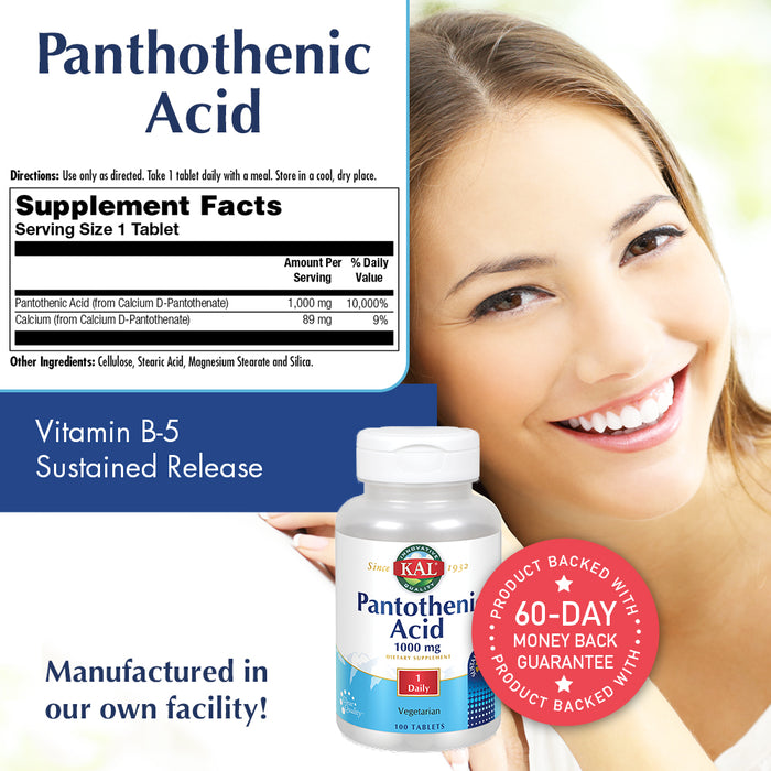 KAL Pantothenic Acid Sustained Release 1000mg | For Energy Storage & Release | Supports Metabolism of Carbs, Fats & Proteins | Vegetarian | 100ct