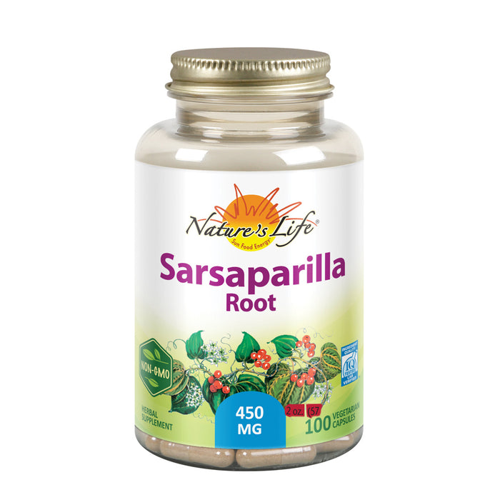 Nature's Life Sarsaparilla Root 450 | Energy and Mood Support | Joint and Skin Health Formula, Non-GMO, 100 CT