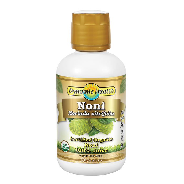 Dynamic Health Organic Noni (Morinda citrifolia) 100% Juice | For Increased Energy & Body Health | No Additives, Vegetarian | 16oz Plastic