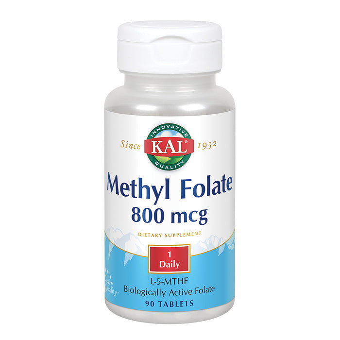 KAL Methyl Folate 800 mcg | 5-MTHF Active Form | Healthy Heart, Mind, Mood & Prenatal Support | 90 Tablets