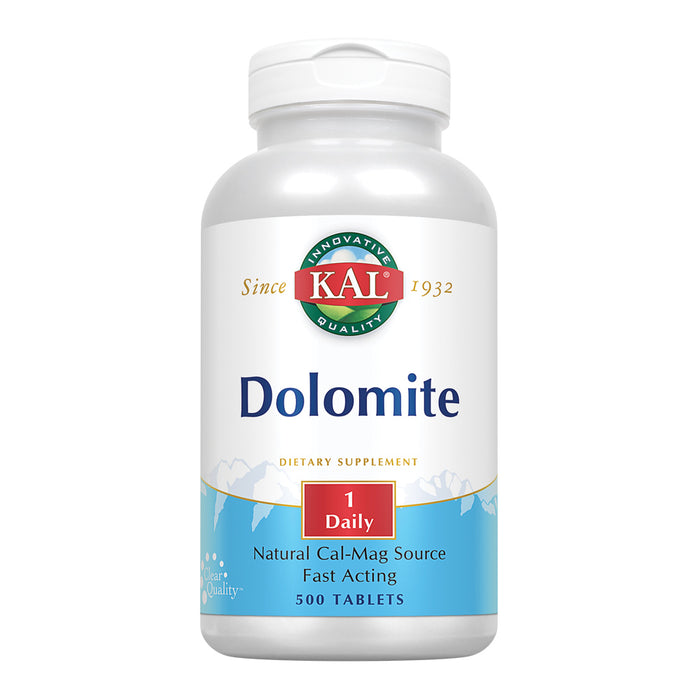 KAL Dolomite | Natural Calcium and Magnesium Source | Fast-Acting Formula for Healthy Teeth, Bones & Heart Function Support | 500 Tablets
