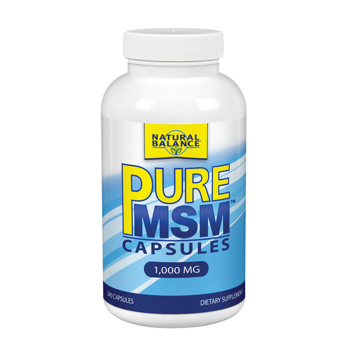 Natural Balance Pure MSM Capsules | Sulfur Supplement Helps Supports Joint Comfort, Collagen & Keratin Production | 240 Count