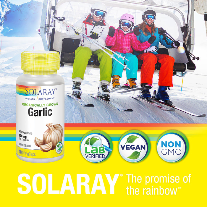 Solaray Garlic Bulb 600mg | Healthy Immune, Circulatory & Cardiovascular Systems Support | Vegan & Non-GMO | 100 VegCaps