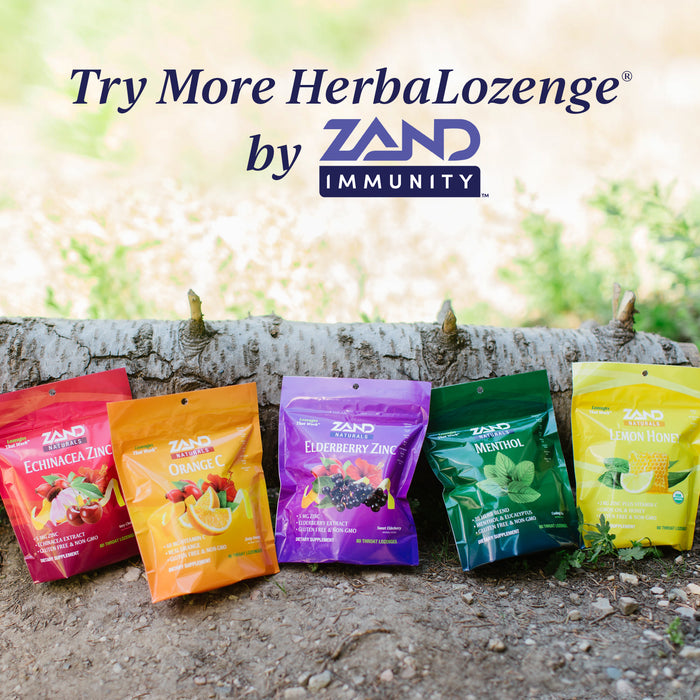 Zand Immunity Cherry Echinacea Zinc HerbaLozenge Throat Drops | No Corn Syrup or Cane Sugar (15 Lozenges)