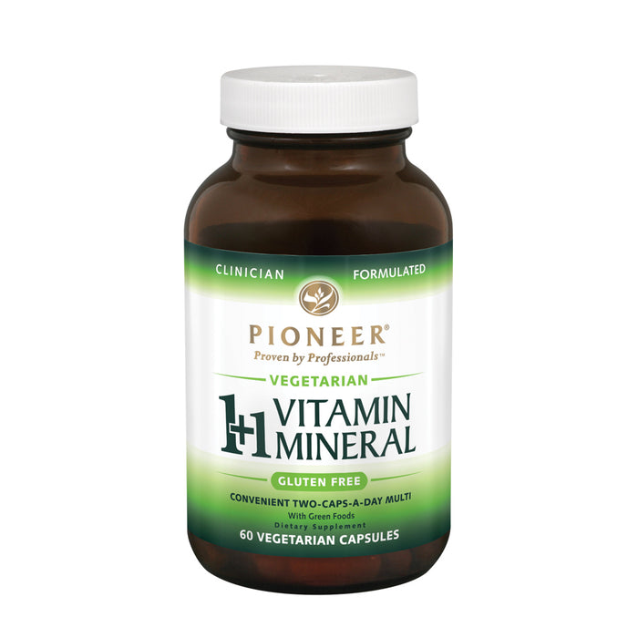 Pioneer 1+1 Multi-Vitamin & Mineral Tablet without Iron | For Men & Women | Highly Bioavailable | Verified No Gluten | 60 Vegetarian Capsules