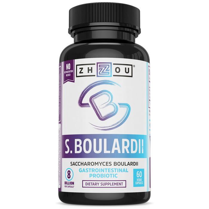 Zhou S. Boulardii Probiotic 440 mg | Mens & Womens Probiotics | Shelf Stable Immune Support | 60 Veggie Caps