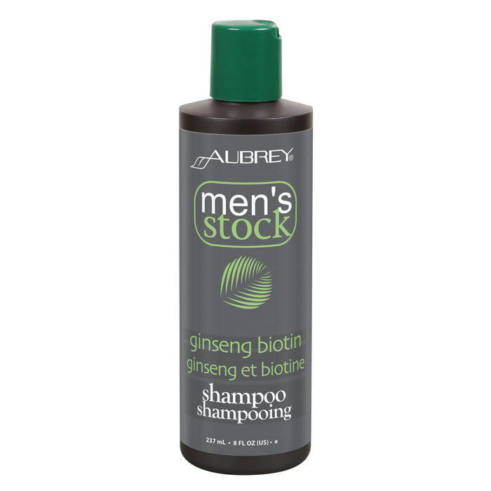 Aubrey Mens Stock Ginseng Biotin Shampoo & Scalp Energizer | Formula For Thicker, Healthier Looking Hair | Ho Shou Wu & Nettle | All Hair Types | 8oz