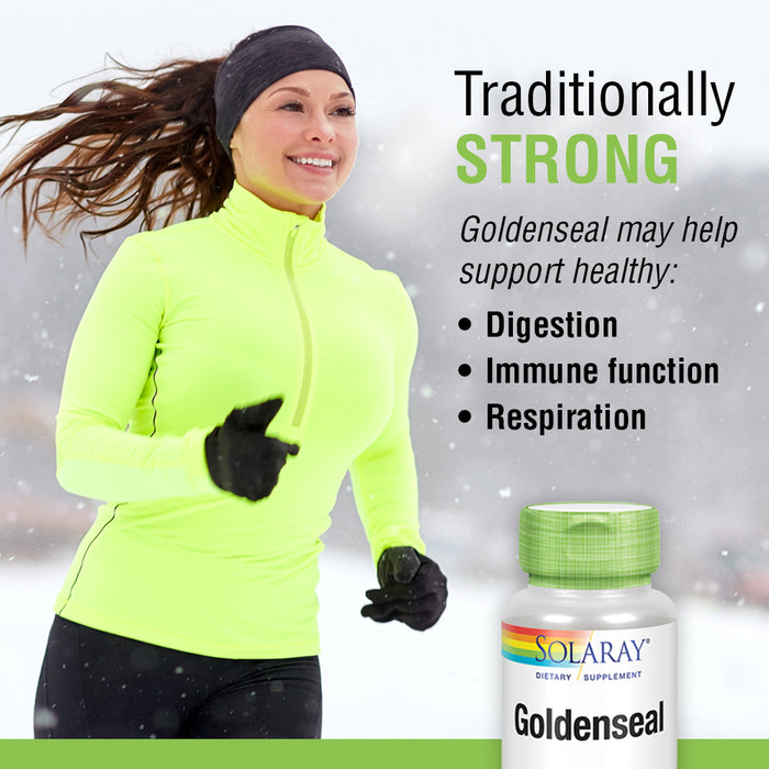 Solaray Goldenseal Root 550mg | Healthy Digestion, Immune Function & Respiratory Support | Whole Root | Non-GMO, Vegan & Lab Verified | 100 VegCaps