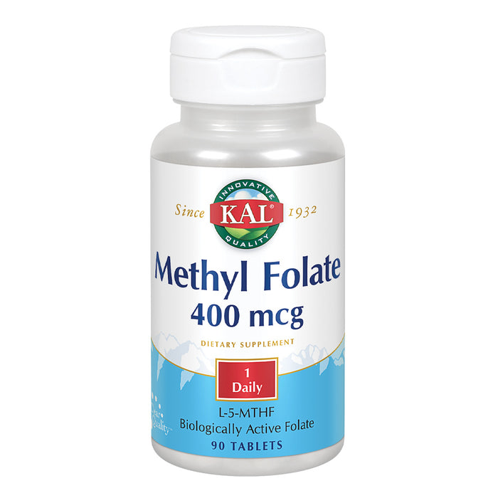 KAL Methyl Folate 400 mcg | 5-MTHF Active Form | Healthy Heart, Mind, Mood & Prenatal Support | 90 Tablets