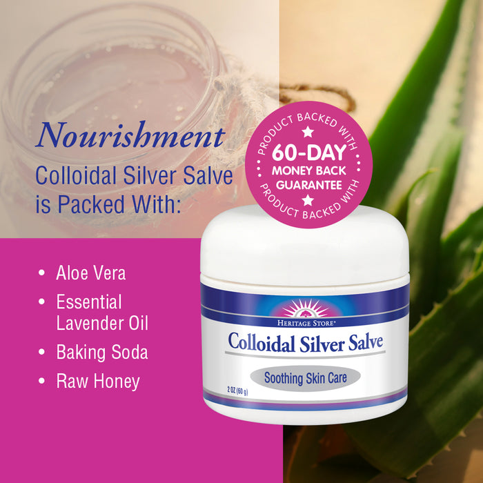 Heritage Store Body Gel Salve, Colloidal Silver, 2 Ounce