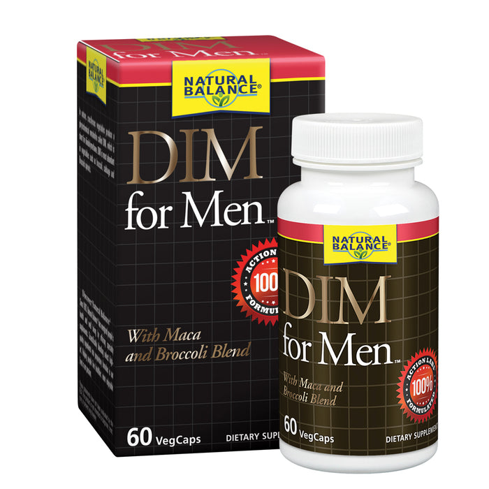 Natural Balance DIM for Men | Hormone Balance Supplement for Energy, Vitality & Mood Support | With Maca & Broccoli Extract | 60 VegCaps
