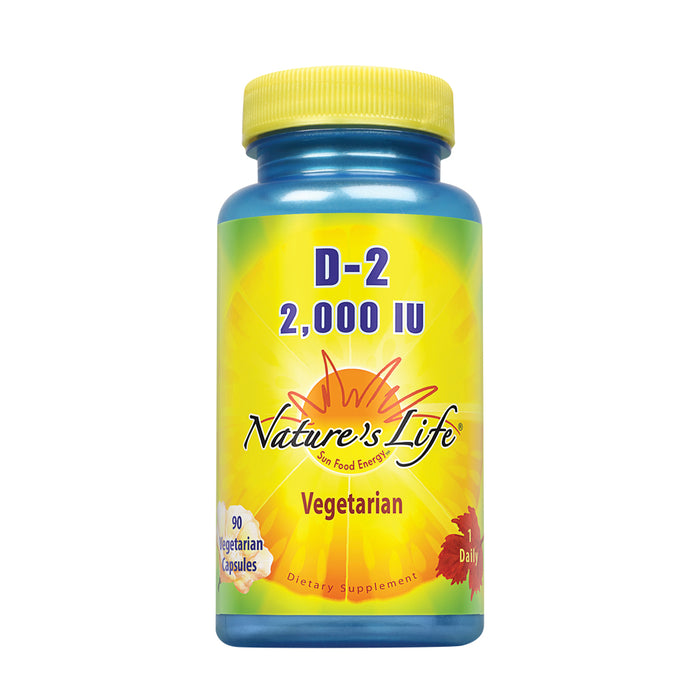 Nature's Life Vitamin D-2 2000IU | High Potency Ergocalciferol | Supplement May Support Bone & Heart Health | 90 Vegetarian Capsules