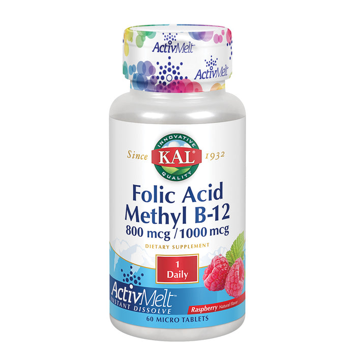KAL Folic Acid Methyl B-12 ActivMelt | Natural Raspberry Flavor | Healthy Heart & Energy Support | Superior Methylcobalamin | 60 Micro Tablets