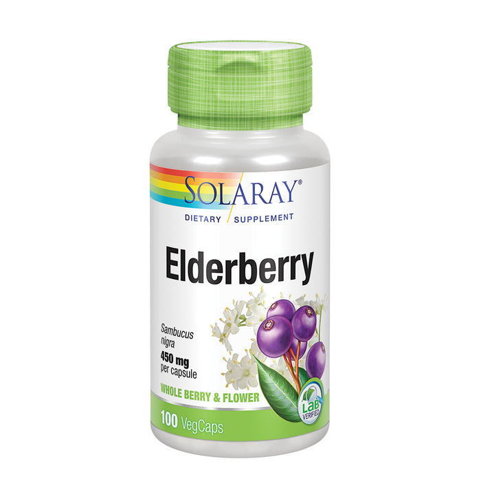 Solaray Elderberry Berry & Flower 450mg | Support for General Wellbeing During Cold Months | With Flavonoids & Phenolic Compounds | Non-GMO | 100ct