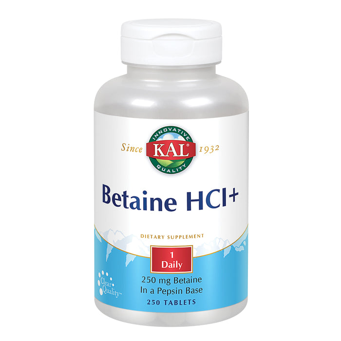 KAL Betaine HCL Plus 250 mg | In 130 mg Pepsin Base | Healthy Digestive Function Support | Protein Digestion | Rapid Disintegration |  250 Tablets