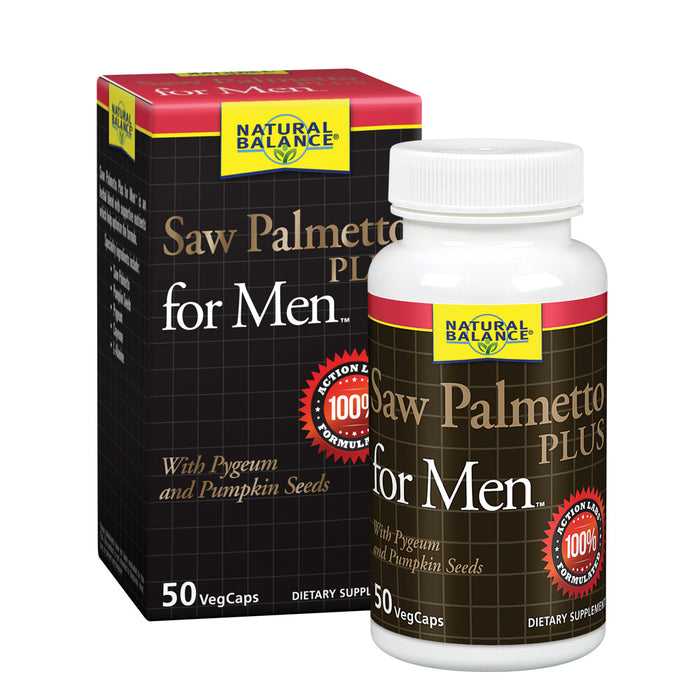 Natural Balance Saw Palmetto Plus for Mens Prostate Health | Urinary Frequency & Flow Support w/ Pygeum & Pumpkin Seeds | 50 VegCaps, 25 Servings
