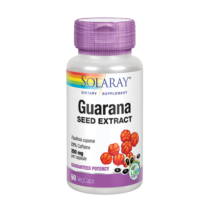 Solaray Guarana Seed Extract 300mg | 44 mg of Caffeine | Healthy Energy, Focus, Memory & Metabolism Support | 60 VegCaps