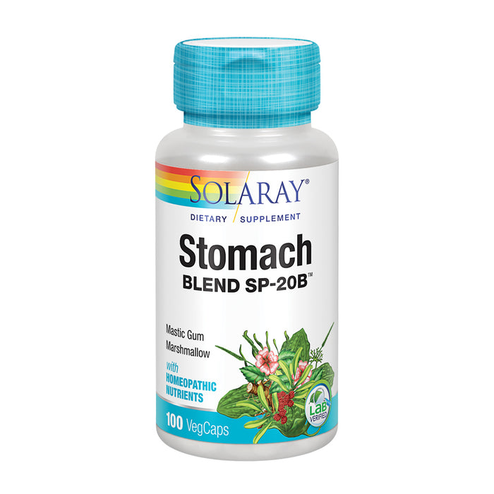 Solaray Stomach Blend SP-20B | Herbal Blend w/ Cell Salt Nutrients to Help Support Stomach & Digestive Health | Non-GMO, Vegan | 50 Serv | 100 VegCaps