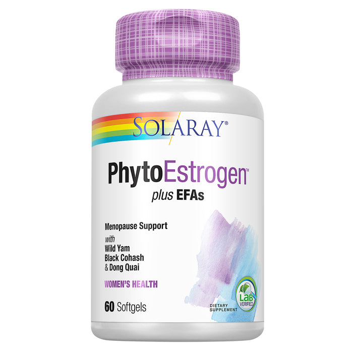 Solaray PhytoEstrogen Plus EFAs Menopause Support | Wild Yam, Black Cohosh, Evening Primrose & Borage | 60ct, 30 Serv.