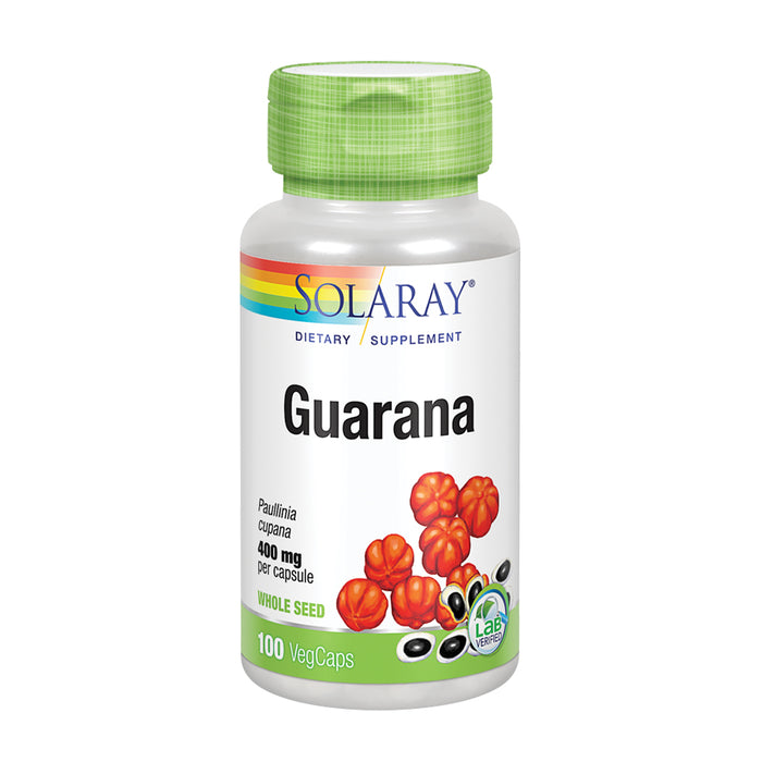 Solaray Guarana 800mg | Caffeine Supplement | Healthy Energy, Focus, Memory & Metabolism Support | 50 Serv | 100 VegCaps