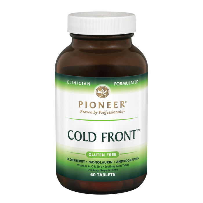 Pioneer Cold Front | Immune Support Supplement Featuring Elderberry, Monolaurin, Vitamin A & C & Zinc | Verified No Gluten | 60 Tablets