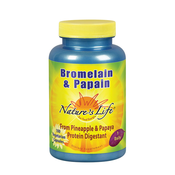 Nature's Life Bromelain & Papain | Proteolytic Enzymes For Digestive Support & Comfort | From Pineapple & Papaya | 250mg (100 CT)