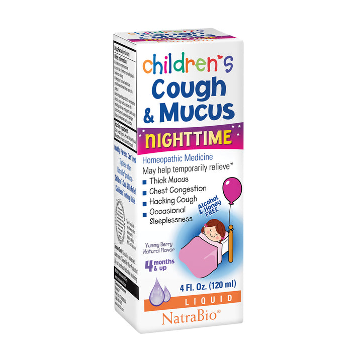 NatraBio Childrens Cough & Mucus Nighttime | Homeopathic Relief for Cough, Congestion | Ages 4+ Months | 4oz, 47 Serv.