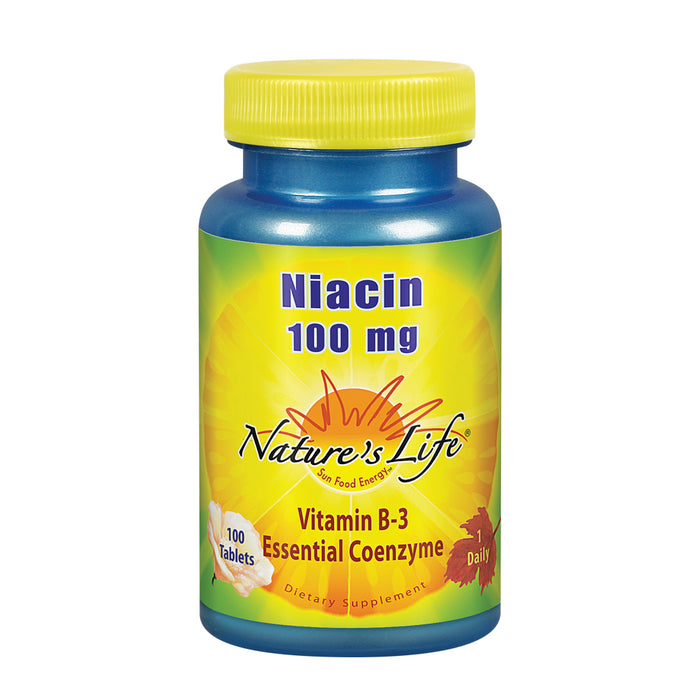 Nature's Life Niacin 100mg | Vitamin B3 Supplement | Healthy Blood Lipid, Circulation & Skin Support | 100CT