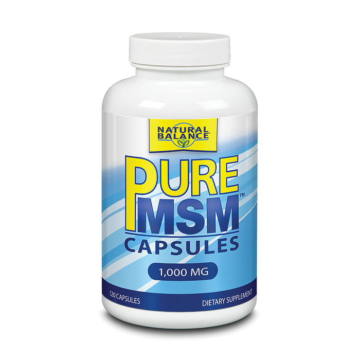 Natural Balance Pure MSM Capsules | Sulfur Supplement Helps Supports Joint Comfort, Collagen & Keratin Production | 120 Count