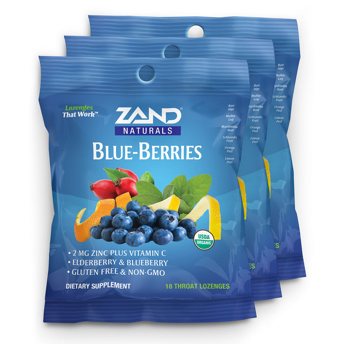 Zand Organic Blue-Berries HerbaLozenge Cough Drops | Zinc, Elderberry and Herbs for Soothing Immune Support (3 Bags, 18 Lozenges)