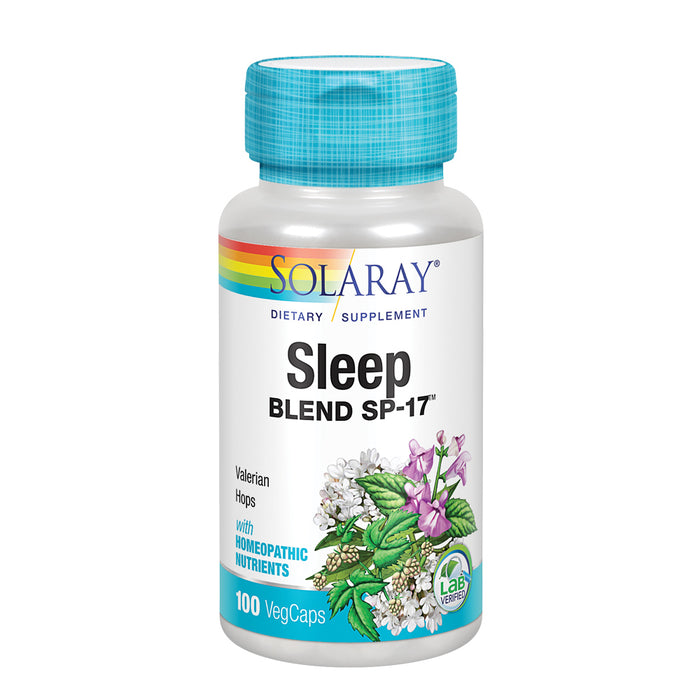 Solaray Sleep Blend SP-17 | Herbal Blend w/ Cell Salt Nutrients to Help Support Healthy Sleep & Relaxation | Non-GMO, Vegan | 100 VegCaps
