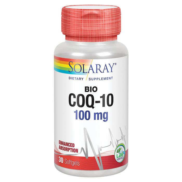 Solaray Bio CoQ-10 100 mg | Enhanced Absorption | Vitamins A & E | Healthy Heart & Cellular Energy Support (30 CT)
