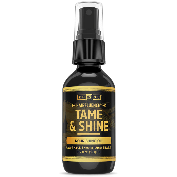 Zhou Hairfluence Tame & Shine Hair Oil for Frizz-Free Healthy Shine | Scientifically Formulated Hair Oil Serum & Detangler with Keratin, Biotin, Argan, Baobab, Marula, Castor Oils | 2 oz