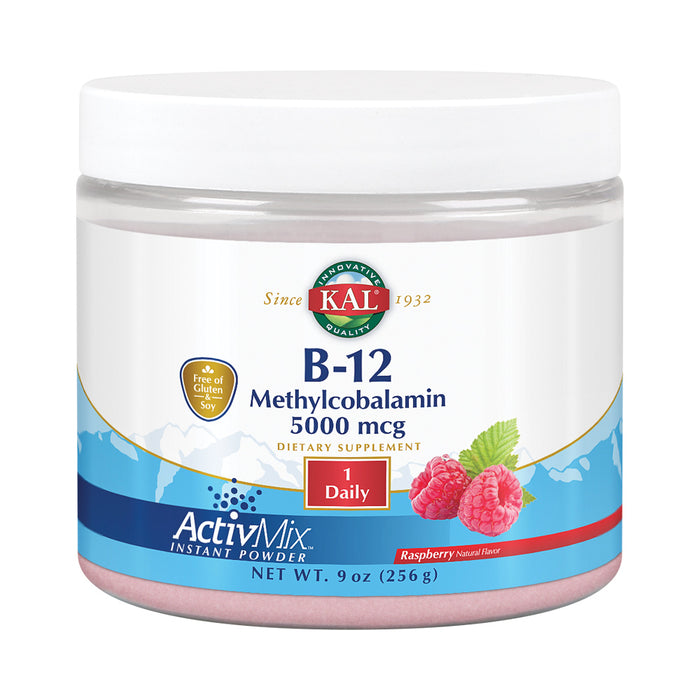 KAL B-12 Methylcobalamin ActivMix 5000 mcg | Natural Raspberry Flavor | Healthy Metabolism, Energy, Nerve & Red Blood Cell Support | 60 Servings