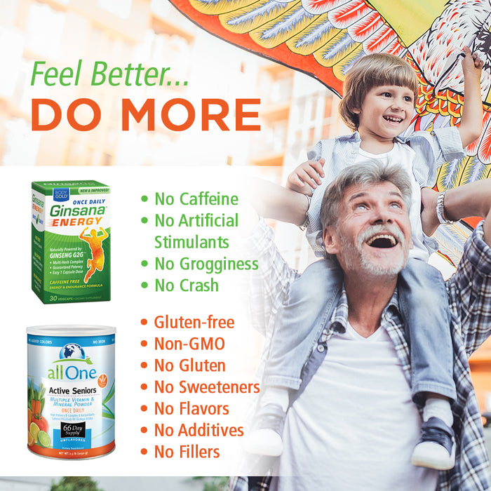 allOne Multi Vitamin & Mineral Powder for Seniors + Body Gold Ginsana Energy Bundle | 66 Multivitamin/30 Energy Servings